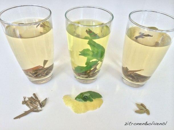 Olivenblättertee pur, Olivenblättertee mit frischer Minze und Zitronenschale, Olivenblättertee mit Kardamom