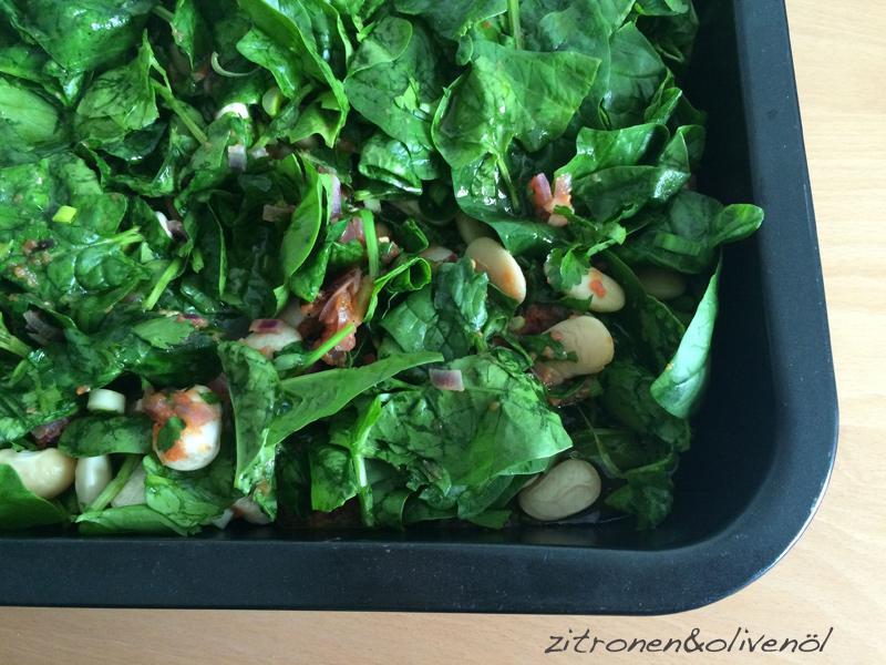 Resenbohnen mit Spinat aus dem Ofen - Gigantes me Spanaki