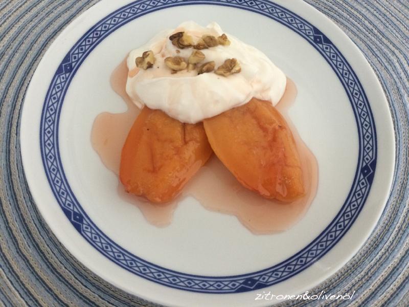 Gebackene-Quitten mit griechischem Joghurt