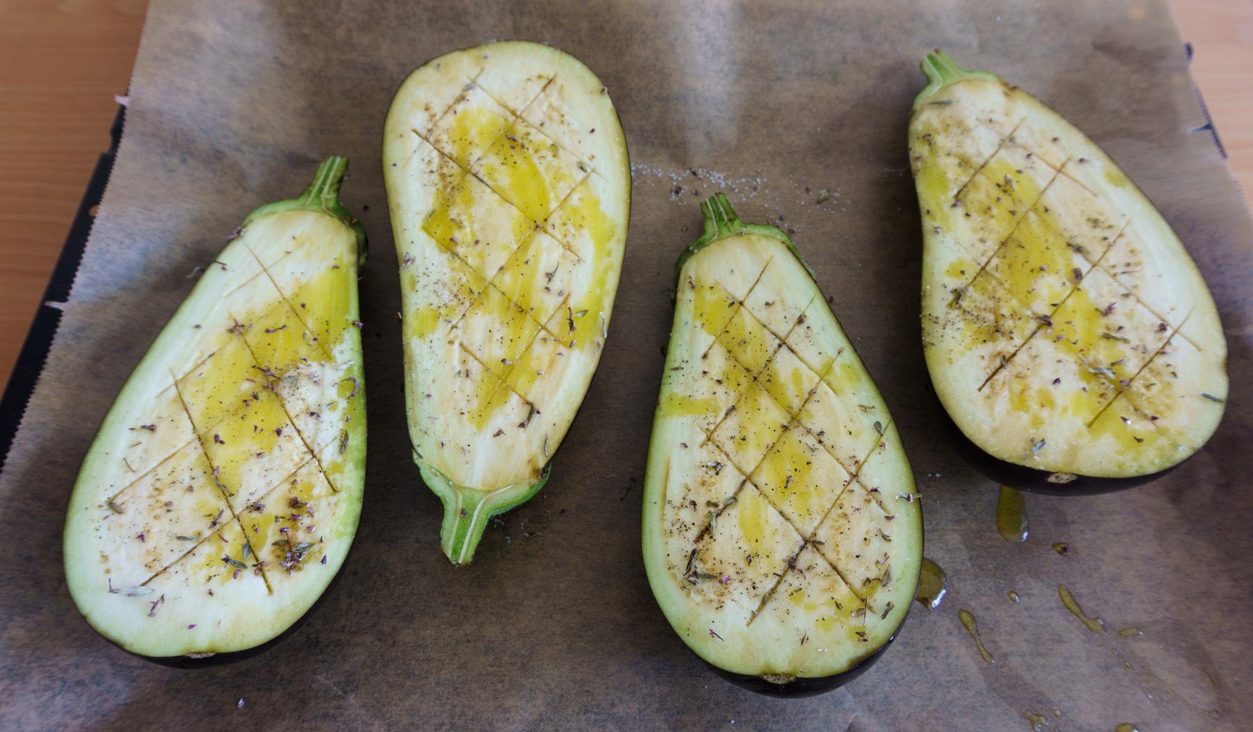 Auberginen für Papoutsakia